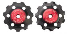 Enduro Bearings ZERO Ceramic Shimano 11spd Pulley Wheels - Black/Red