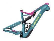 """2017 Specialized Stumpjumper S-Works FSR 27.5"""" Carbon Fiber Suspension Frame - Teal/Pink"""