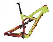 "2015 Specialized Enduro S-Works 27.5"" Carbon Fiber/Aluminium Suspension Frame - Neon Green/Red"